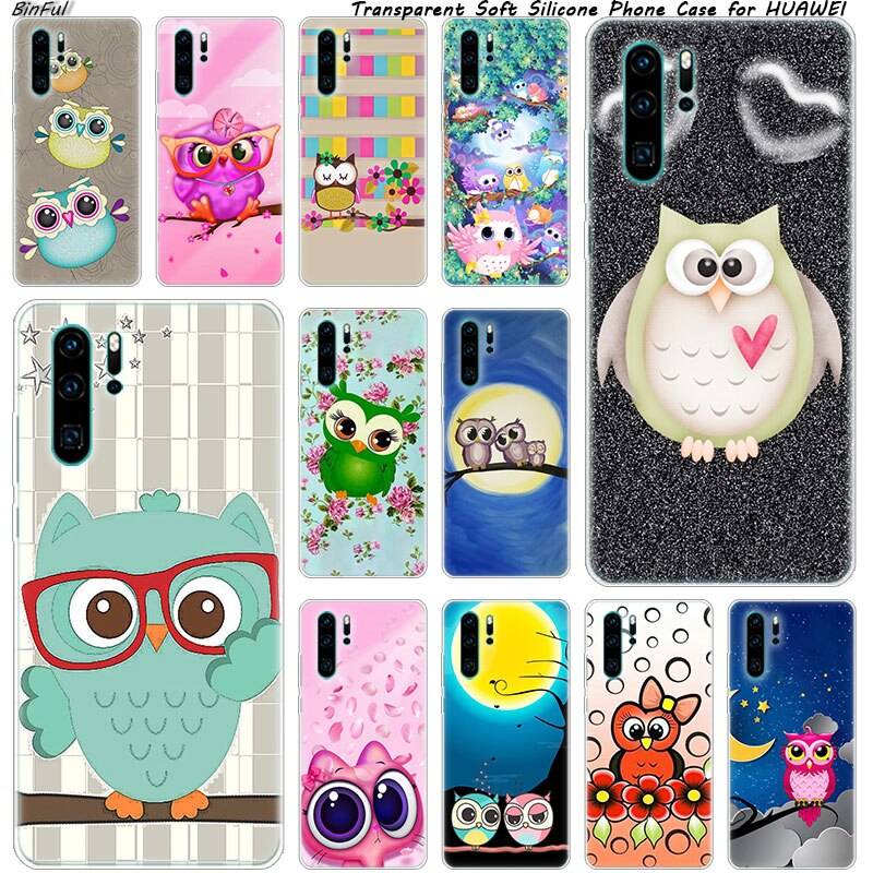 Hot Colorful sweet owl Soft Silicone Phone Case for Huawei P30 P20 Pro P10 P9 P8 Lite 2017 P Smart Z Plus 2019 NOVA 3 3i Fashion