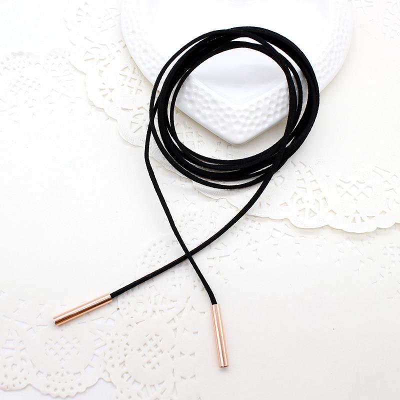 2019 NEUE Mode Halskette Charme Lange Seil Kragen Schwarz Farbe Leder Samt Streifen Chocker Schmuck Für Frauen Collier Femme