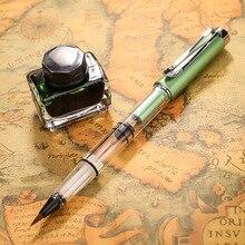1 stylo de calligraphie couleur métal vert cheveux doux écriture brosse peinture dessin aquarelle stylo plume fournitures scolaires papeterie