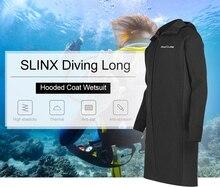 SLINX hombres 3mm largo hasta la rodilla buceo capa Sunblock neopreno buceo largo con capucha traje de neopreno chaqueta de buceo de secado rápido