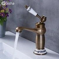 Gisha robinets de lavabo de salle de bains robinet en laiton Antique contemporain melangeur robinet deau a poignee unique rotative grue chaude et froide
