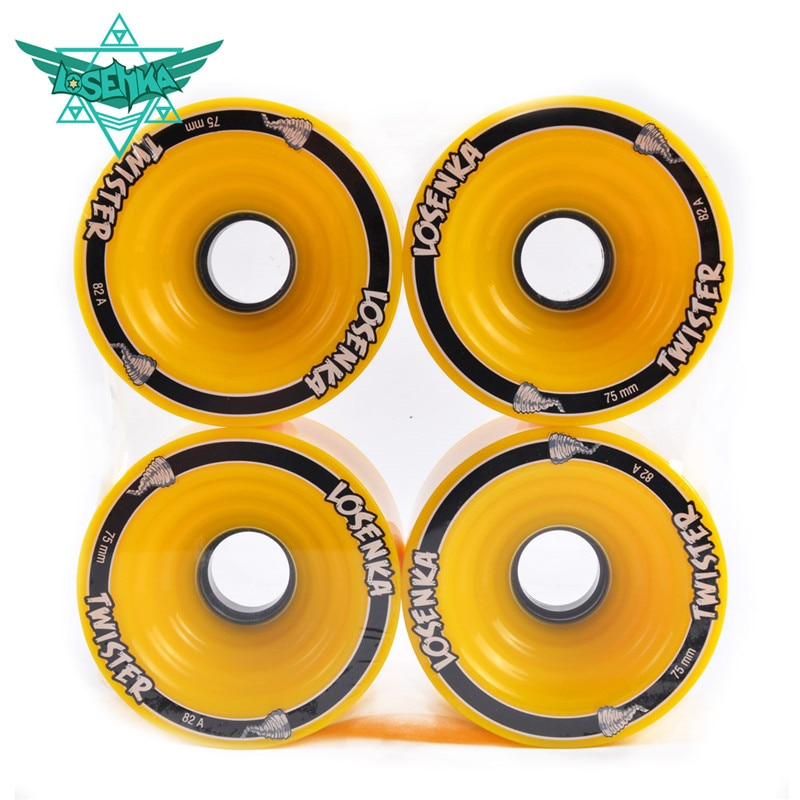 [75mm*56mm 82A] 4 Pcs/Lot Original Losenka Durable PU Wheel for Long Skateboard Downhill Braking, Large Skate Board Wheels