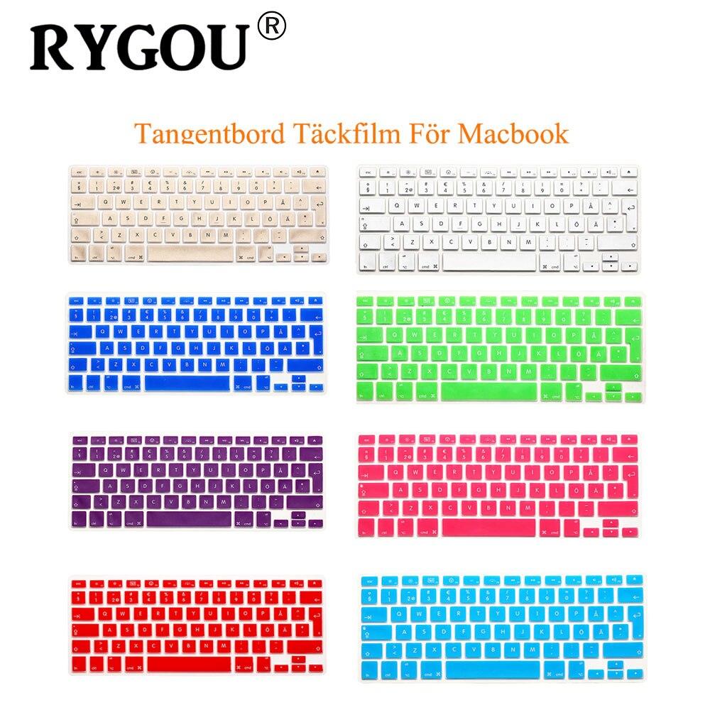 RYGOU, letras Svenska suecas, pegatinas para teclado de silicona para MacBook, cubierta para teclado, disposición de la UE para Mac Book Air Pro 13 15 17