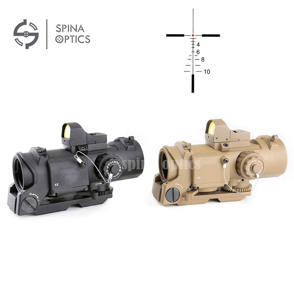 Mira de rifle de caza SPINA OPTICS 4x32F + HD400 mira óptica con minimira de punto rojo mira de punto rojo para Rifle caza tiro