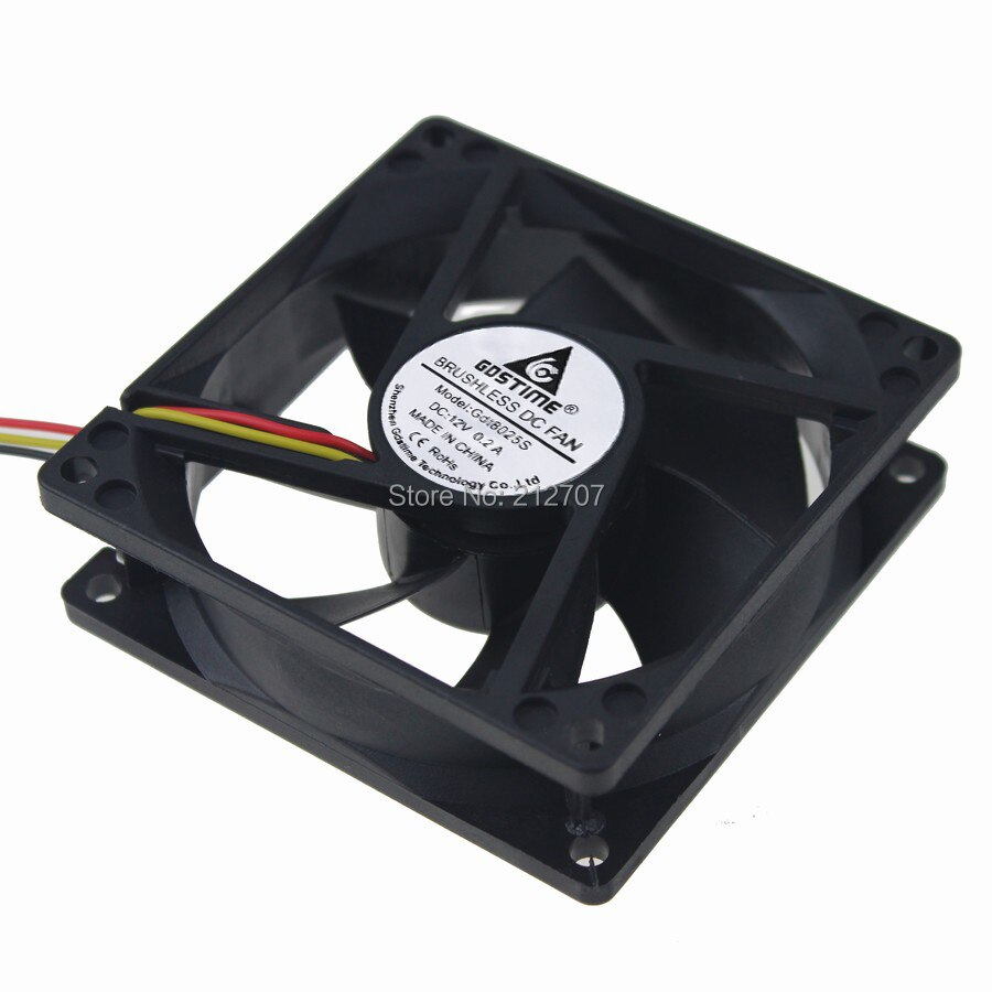 50PCS Gdstime 3Pin DC 12V Sleeve Bearing 8CM 80MM 80 x 25MM Axial Cooling Computer Cooler Fan