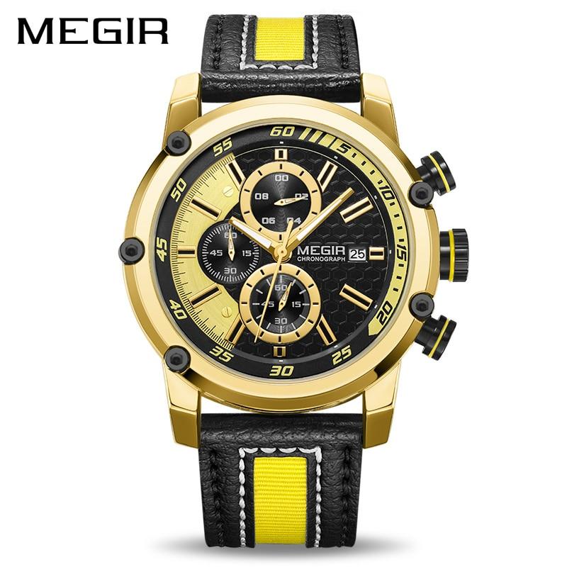 MEGIR Chronograph Sport Men Watch Luxury Quartz Watches Men Clock Army Military Wristwatches Hour Relogio Masculino ML2079