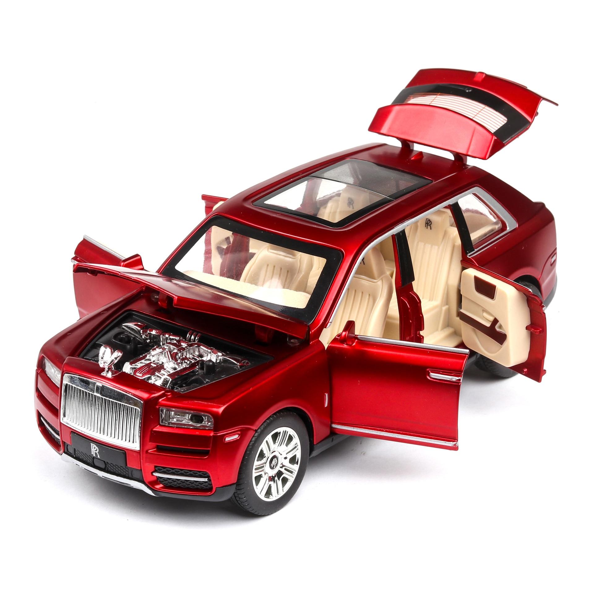 1:24 Diecast Car Model Toy Vehicle Rolls Royces Cullinan SUV Metal Wheels Sound Light Pull Back Car For Kids Toy Car Boy Gift