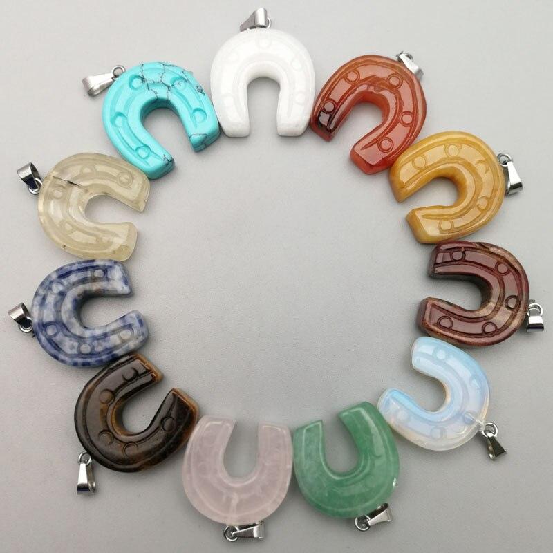 Moda ferradura U forma do casco do Cavalo de pedra natural Pingentes encantos Mistos arco pingente para fazer jóias 12 pcs frete grátis