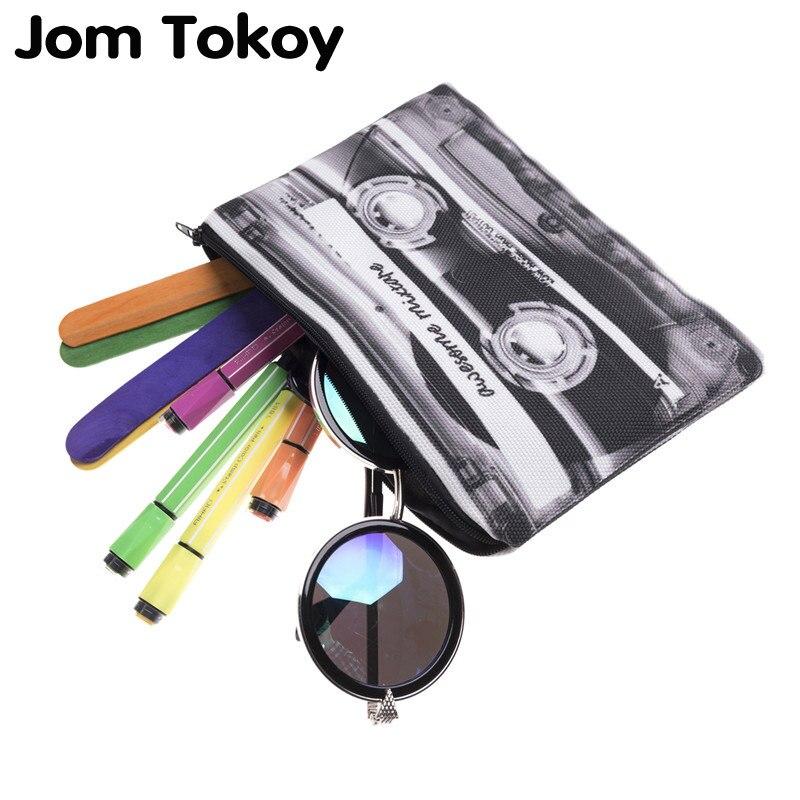 Jom Tokoy, bolsa de lápices con impresión 3D, bolsa de cosméticos 2019, bolsa de maquillaje para pantalones, organizador de maquillaje neceser, estuche de lápices