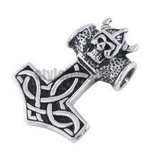 Livraison gratuite, livraison gratuite! Thor pendentif en acier inoxydable pour motard, pendentif en marteau de Thor bijoux en acier inoxydable Claddagh nœud celtique pendentif pour motard