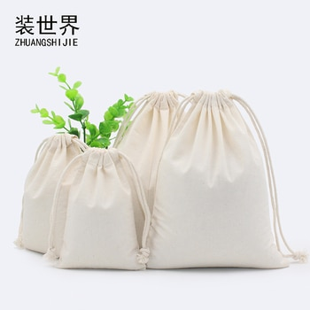 130g Natural Color Cotton Eco Drawstring Bag Packaging Gift Bag Custom Logo Printed Jewelry Bag Christmas Storage Bags