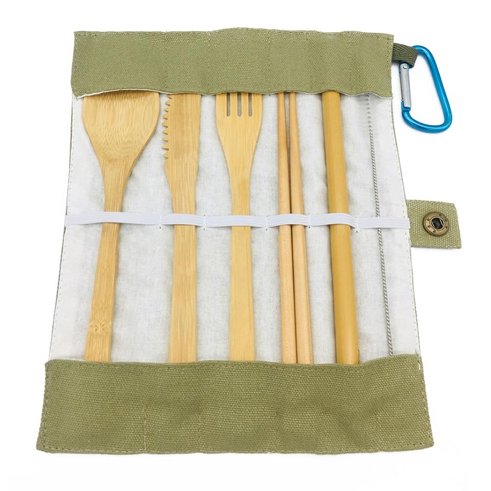 Juego de 7 Uds de utensilios de cocina de paja con bolsa al azar, reutilizable, respetuoso con el medio ambiente, juego de cubiertos de bambú, cuchara, tenedor, palillo