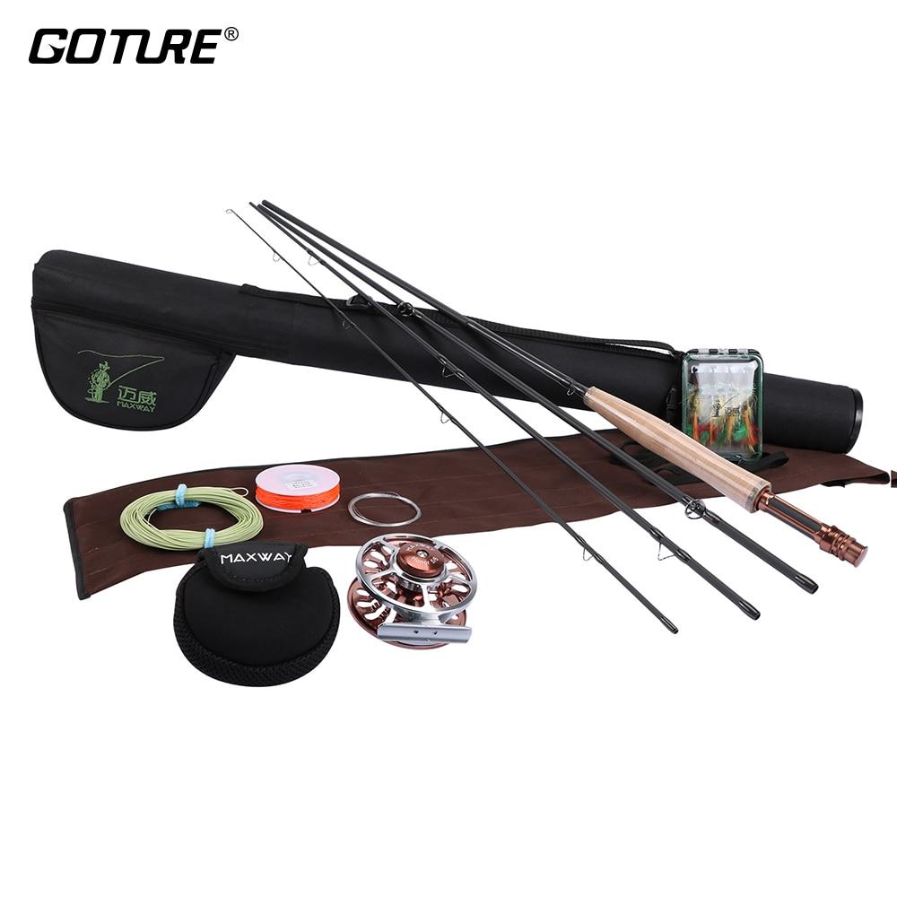 Goture Fly Fishing Combo Maxway Honor Fly Reel 3/4 2.4M 5/6 2.7M Fishing Rod, Main Line+16pcs Flies+Lure Box