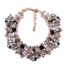 Женское Ожерелье Fatpig, модное ожерелье с цветами из горного хрусталя