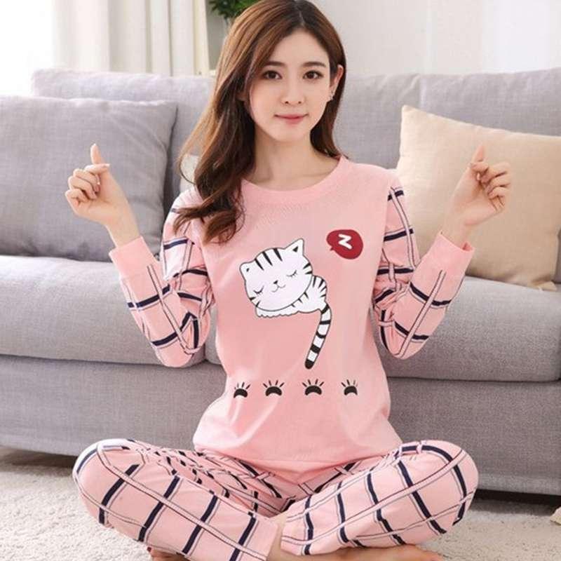 Conjunto de pijamas de mujer otoño lindo estampado de dibujos animados pijamas de manga larga para mujeres de talla grande ropa de casa Pijama piжама