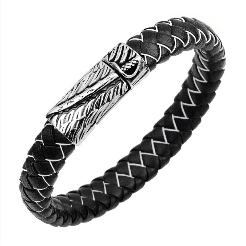 Pulsera y brazalete Retro tejido de acero inoxidable, diseño de ala, pulseras de serpentina para hombres y mujeres, accesorios de joyería, pulseras para hombres