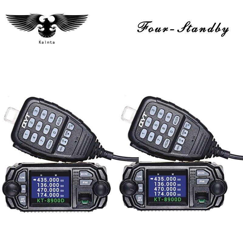 2 قطعة QYT kt-8900D البسيطة 25w اسلكية تخاطب 10 كجم اتجاهين المزدوج الفرقة كبيرة اللون lcd عرض المحمول راديو qyt kt8900d VHF راديو السيارة