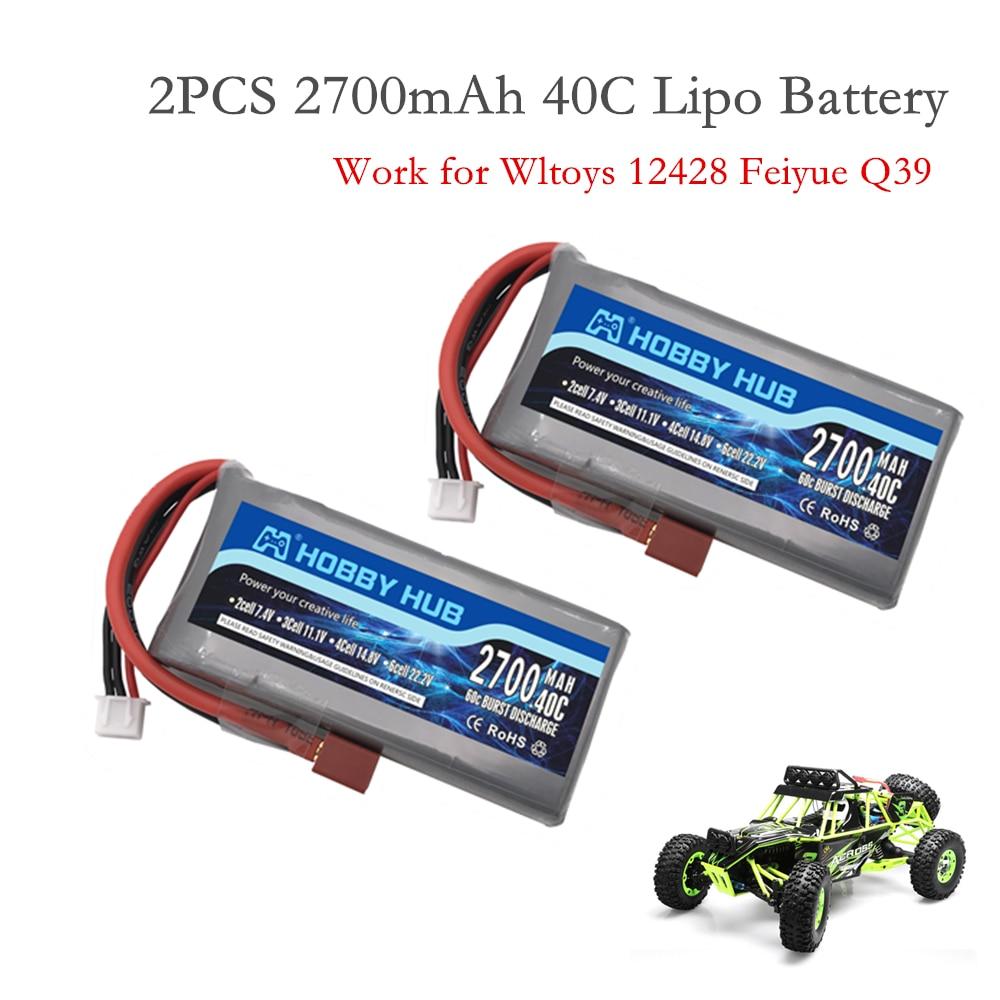 2 шт. Hobby Hub RC Lipo Battery 2s 7,4 V 2700mAh 40C Max 60C для Wltoys 12428 12423 RC Car feiyue 03 Q39 обновленные детали батареи