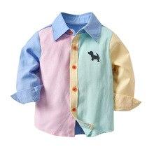 Roupas de menino 1-8 y primavera outono contraste cor manga longa camisa grande crianças algodão moda estilo ocidental turn-down colarinho camisas