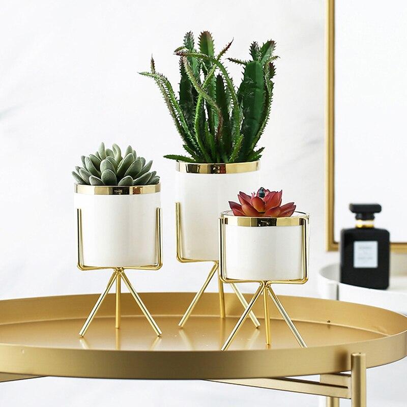 Jarrón de arte del hierro cerámico hidropónico nórdico, floreros maceta minimalista para plantas verdes, decoración de hogar, oficina, 1 pieza