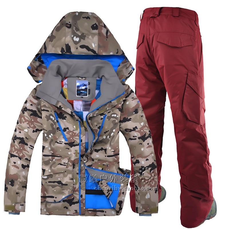GSOU SNOW Outdoor leisure sports Camo ski jacket zipper windproof transpirable ski suit traje de esquí de doble placa individual para hombres