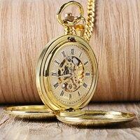 Горячие продажи золота гладкие механические карманные часы подвеска часы для мужчин Женская стильная ретро ручная намотка с двойным охотн...
