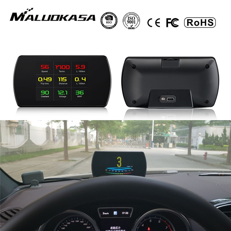 Obd2 medidor do carro hud head-up display inteligente digital medidor hd display digital gps velocímetro consumo de combustível temperatura rpm