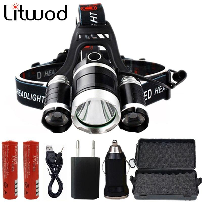 Linterna Z30 XM-T6 3 LED con ZOOM linterna Camping pesca Linterna + 2*18650 batería + coche/AC/cargador + Cable USB