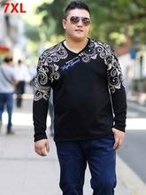 Printemps grande taille hommes vêtements t-shirt gros ample mode impression T-shirt à manches longues chemise grande taille hommes 7XL 6XL 5XL