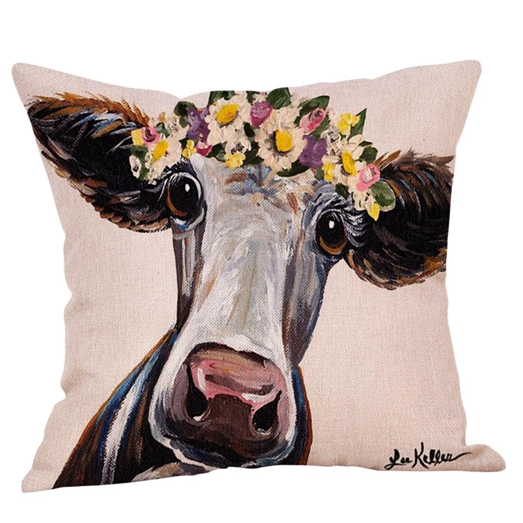 Gajjar 2019 nueva moda pintura vaca estampado con patrón Animal almohada habitación suave asiento forma cuadrada funda de almohada dropshipping 327W