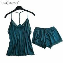 Lisacmvpnel Backless Spitze Sexy Frauen Pyjama Set Spaghetti Strap Nachthemd + Shorts Set Elegante Dessous