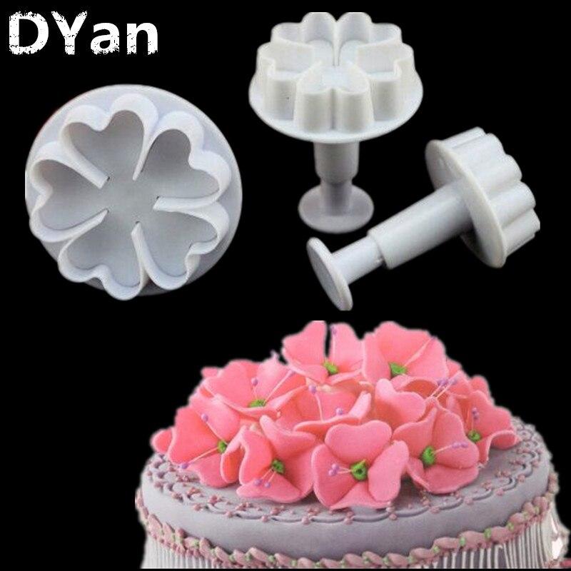 3 unids/set cinco flores de amor primavera herramienta para pasteles de fondant decoración de pasteles azúcar herramientas Rcraft galletas cortadores A194
