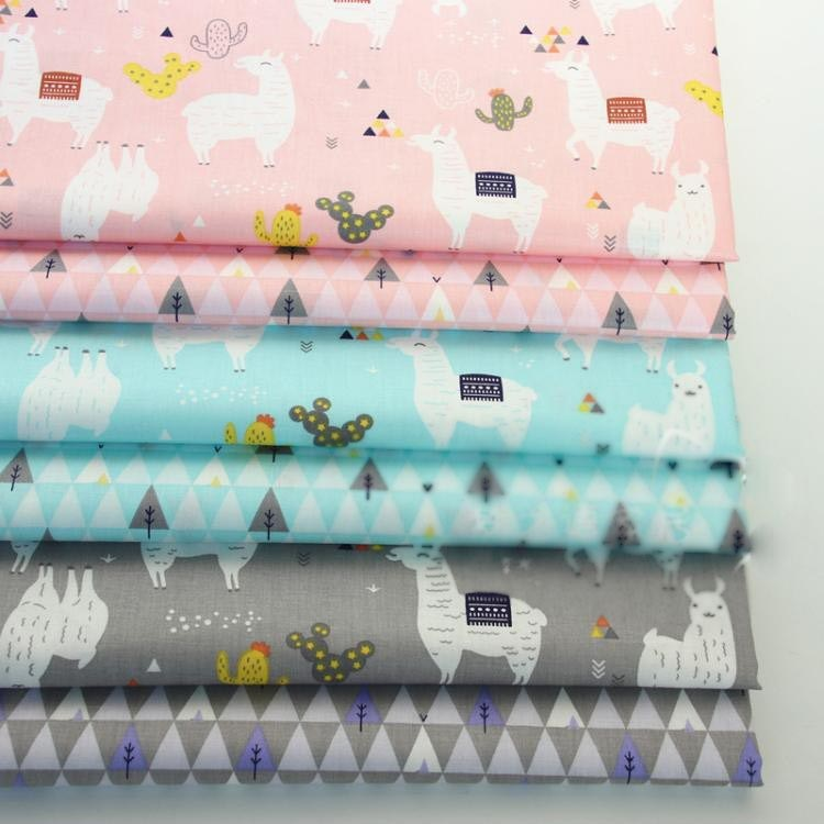 Rosa azul gris Alpaca Tela de algodón bricolaje costura manualidades Para cama hogar Tela decoración Para cuna Patchwork muñeca Tela Tissus Tilda Tecido