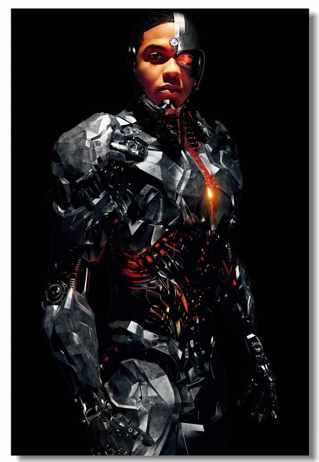 Lienzo personalizado, decoración de pared, póster de Ray Fisher Cyborg, pegatinas de Liga de la justicia, Mural de superhéroes DC, decoraciones de papel para Bar, #0036 #