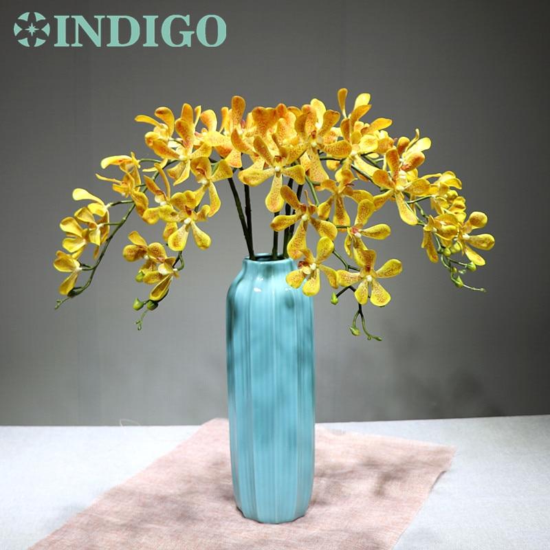 Индиго-желтый Vanda орхидеи фаленопси орхидеи реальное касание цветок декоративный свадебный цветок орхидеи, цветочный вечеринку Бесплатная доставка
