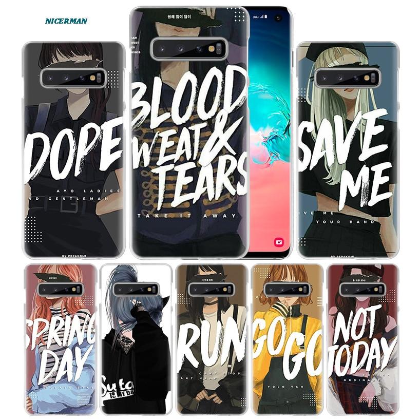 Me sauver Kpop Fille pour Samsung Galaxy S10 5G S10e S9 S8 M40 M30 M20 M10 J4 J6 Plus J8 2018 Note 8 9 10 Couverture de Téléphone Portable Sacs