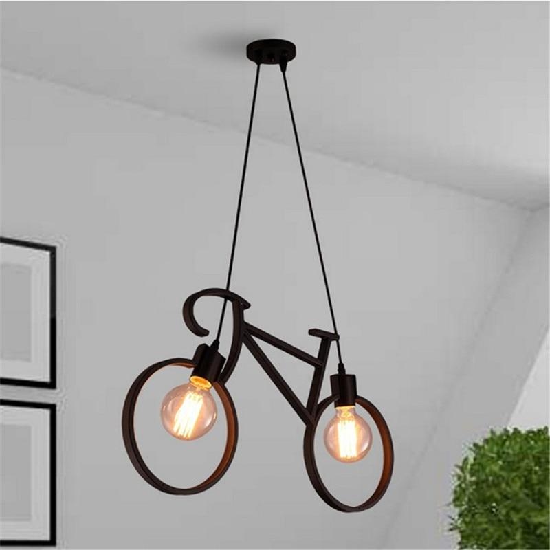 Retro Loft E27 Bombilla LED bicicleta forma colgante luz Vintage bicicleta Droplight accesorio de iluminación para interior para decoración del hogar