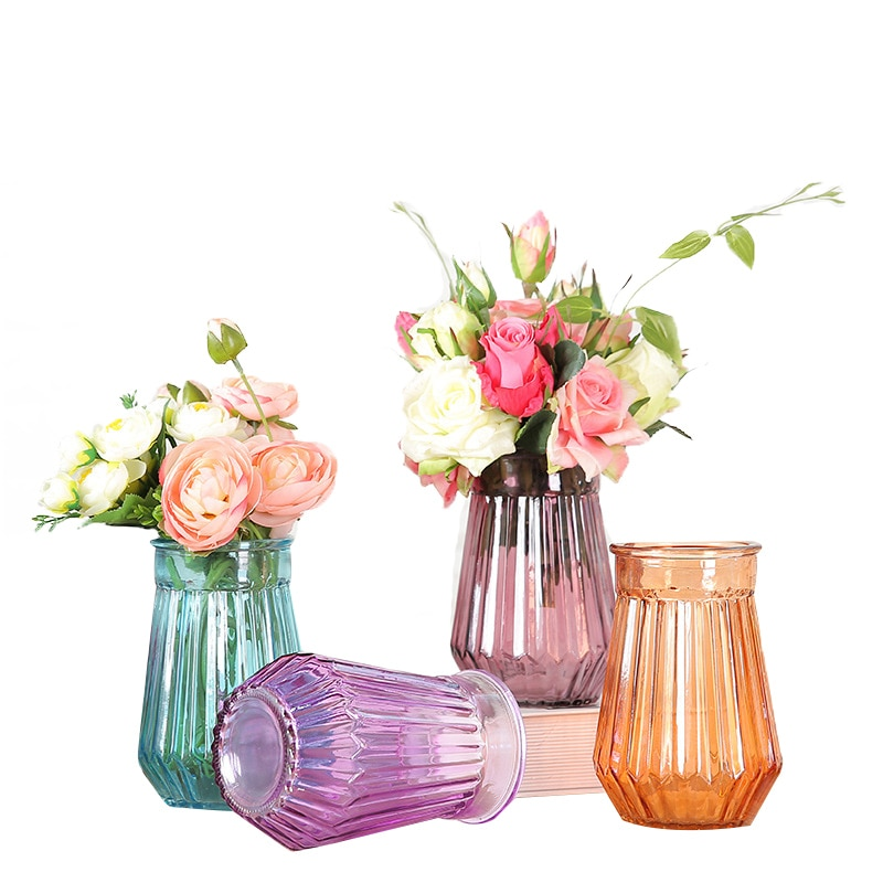 Jarrón de cristal para decoración del hogar jarrón de la torre para decoración de la Oficina foto Prop Verde botella de cristal de moda floreros de cerámica de la planta