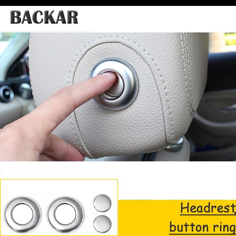Backar ABS estilo de coche reposacabezas Botón Ajuste anillo pegatinas decorativas para BMW F30 F34 F35 Serie 3 320i 316i Accesorios