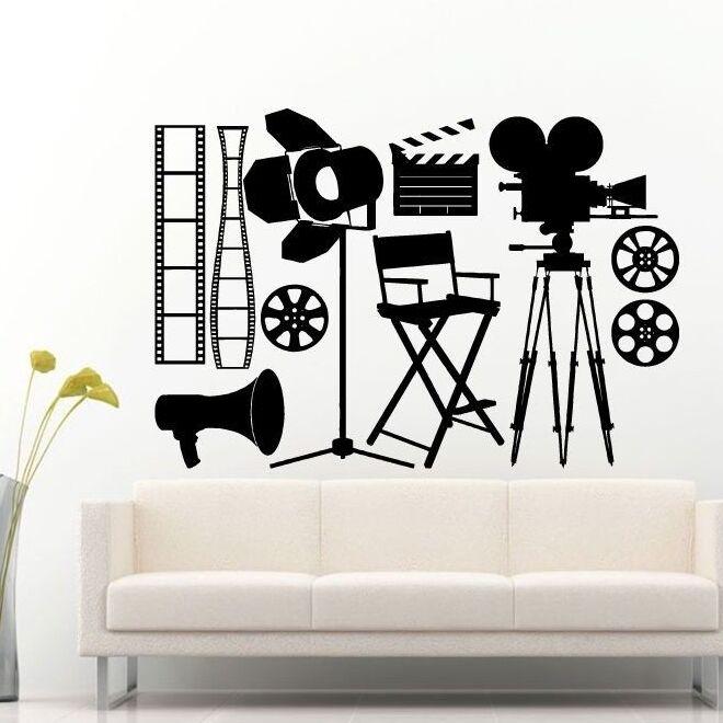 Виниловая настенная наклейка для камеры точечный свет Настенная картина Кино; инструменты для Декорации пленки виниловые обои виниловый арт AY992