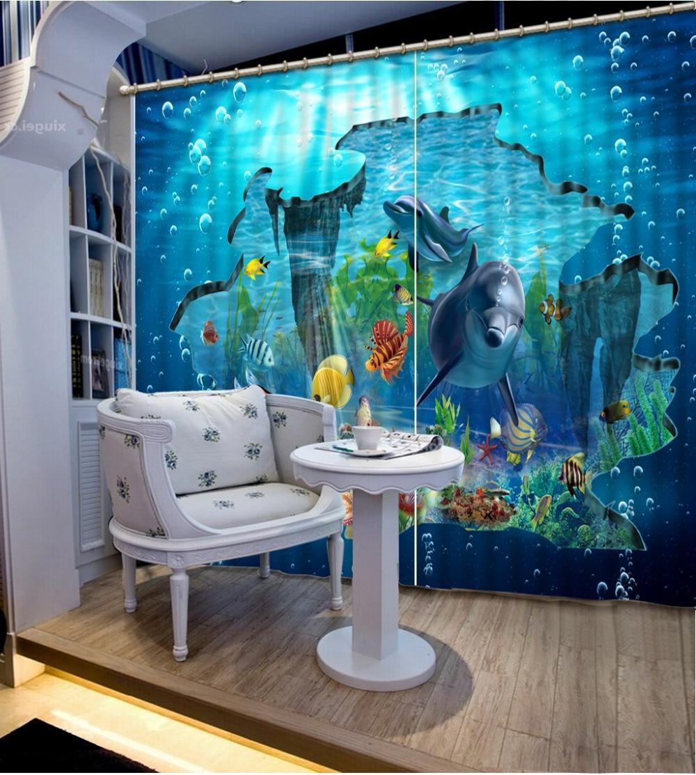 Custom Curtains Marine dolphin Blackout Window 3D Curtains For Bedding room Livingroom Kids Bedroom Curtain high quality