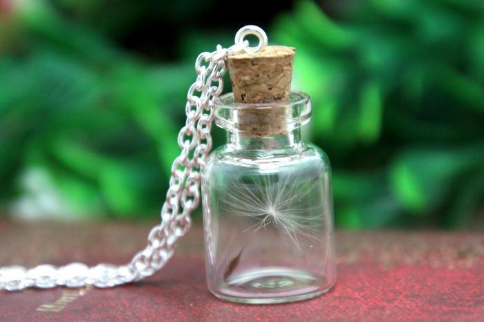 10 Uds collar de semilla real de diente de león, collar, botella de vidrio collar, flores silvestres, joyería botánica