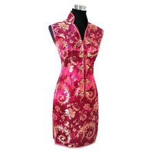 Robe femme traditionnelle chinoise bordeaux robe Mujeres Vestido femme Satin col en v Mini Cheongsam Qipao taille S M L XL XXL XXXL JY012-7