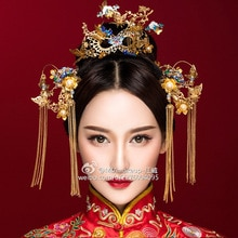 chinese coronet Gallery phoenix hair pins sets Wedding Crown Wedding brides hair Accessories Bridal Headwear