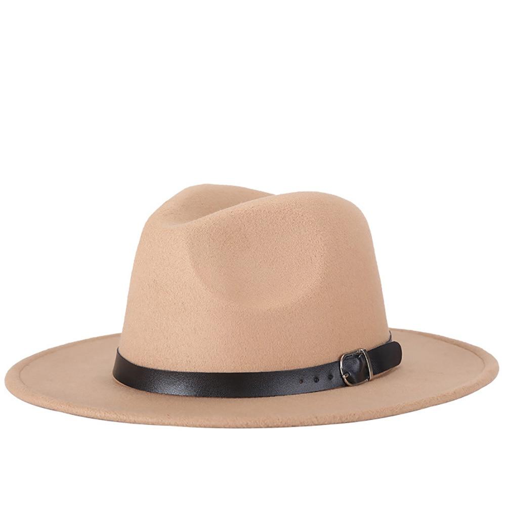 Elegant Imitation Woolen Women Fedoras Top Jazz Hat Round Caps Bowler Hats Men Retro European Americ