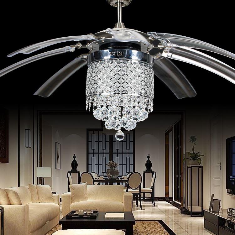 42 inch High Quality LED Crystal fan lights  living room modern fan with remote control Ceiling Fans 110V 220V Ceiling Fans