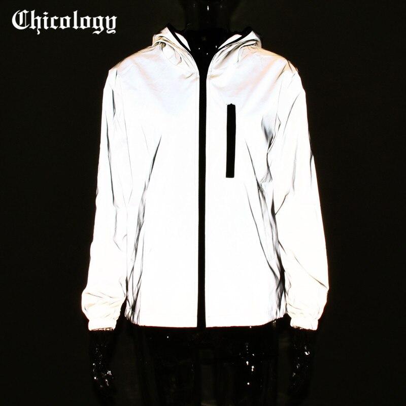 Chicology flash reflectante chaqueta con capucha pantalones 2 conjunto de dos piezas 2019 mujeres moda streetwear cremallera de manga larga abrigo casual