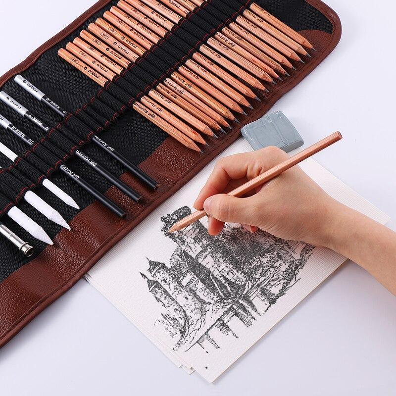 BGLN 25 個スケッチ鉛筆セットプロスケッチ描画キット木製鉛筆バッグ画家学校学生アート用品