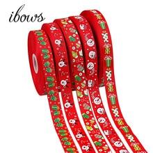 5Yards (25mm) Weihnachten Thema Band Schneemann Gedruckt Grosgrain Band Home Textil DIY Haar Bögen Dekorationen Materialien