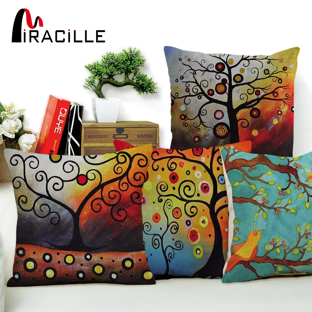 """Miracille Square 18 """"Декоративные диванные подушки красочное Дерево жизни узоры на сиденье в машину на диван поясные подушки Pilow без наполнения"""
